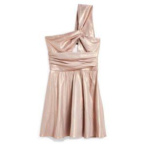Topshop Foil Twist One Shoulder Metallic Dress